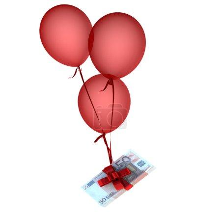 Photo pour Ballons flottants tenant une pile d'euros attachés par un arc rouge - image libre de droit