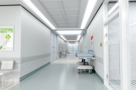 Photo for 3D rendering of a hospital corridor - Royalty Free Image