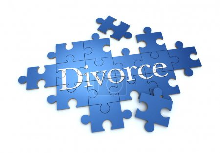 Photo for 3D rendering of a puzzle with the word divorce - Royalty Free Image