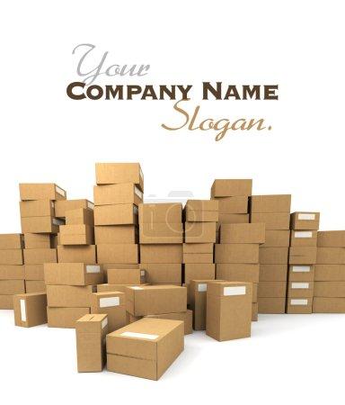 Photo pour Énorme pile de boîtes en carton - image libre de droit