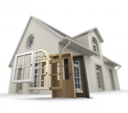 Photo for A house with a choice of doors and windows - Royalty Free Image