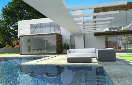 Photo pour Rendu 3D d'une maison de luxe moderne avec piscine - image libre de droit
