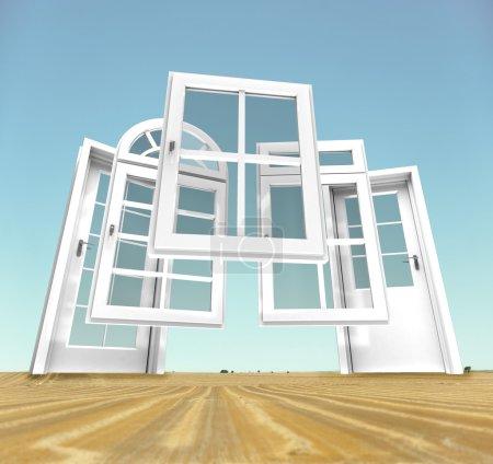 Photo pour Sélection de portes et fenêtres avec un paysage rural en arrière-plan - image libre de droit