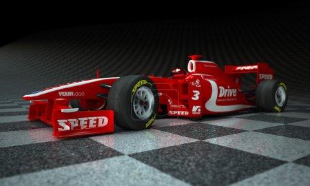 Photo pour Voiture de course avec de faux logos dans un arrière-plan à carreaux - image libre de droit