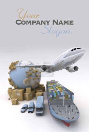 Photo pour Image de transport de fret avec la Terre, boîtes en carton et toute une flotte maritime, y compris cargo, avion, camion, camion, fourgon, etc. .. - image libre de droit