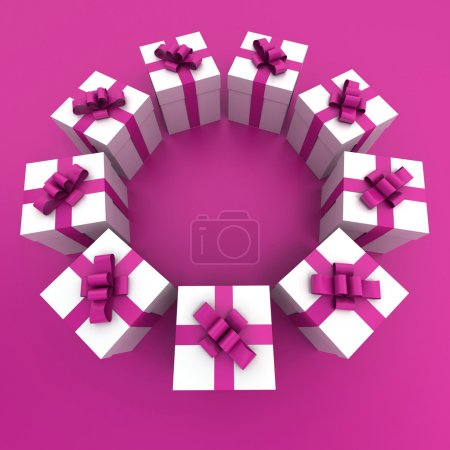 pink and white gift boxes circle
