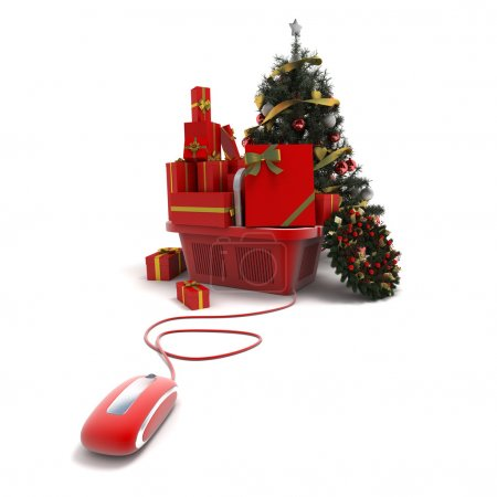 Shopping basket with presents