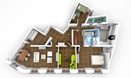 Photo for 3D rendering of a roofless architecture model showing an apartment interior fully furnishe - Royalty Free Image