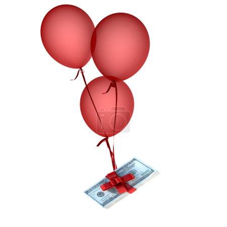 Photo pour Ballons flottant tenant une pile de dollars attachés par un arc rouge - image libre de droit