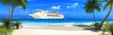 Photo for Cruise ship and tropical beach - Royalty Free Image