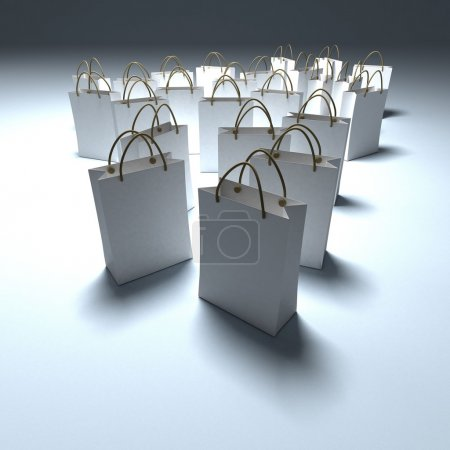 Shopping bags in white