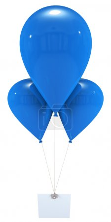 Message with blue balloons