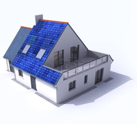Foto de Representación 3D de una casa residencial con paneles solares en el techo - Imagen libre de derechos