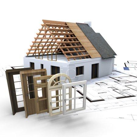 Photo pour Une maison en construction, avec des plans et une sélection de fenêtres et de portes - image libre de droit