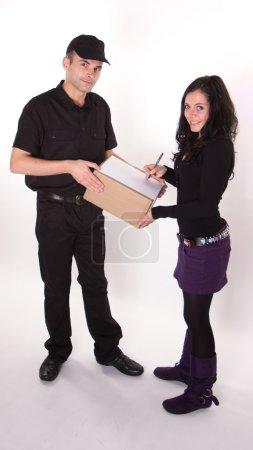 Girl signing parcel receipt