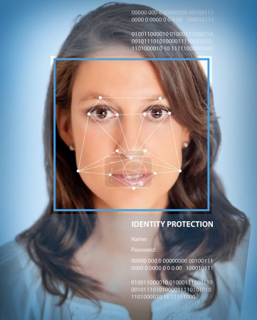 Photo pour Visage féminin avec lignes d'un logiciel de reconnaissance faciale - image libre de droit