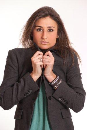 Cold Brunette in a suit jacket