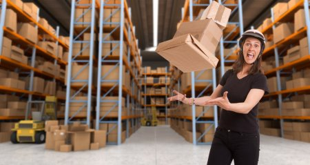 Crazy female courier at warehouse a
