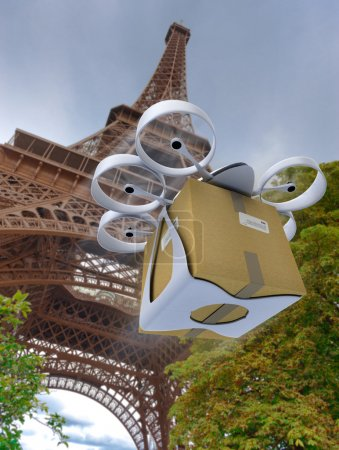 Commercial drone by the Eiffel Tower