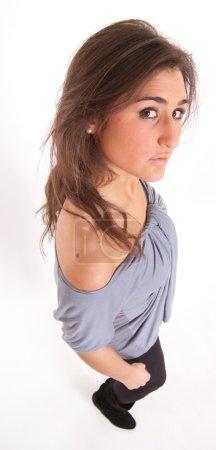 Aerial portrait of a brunette