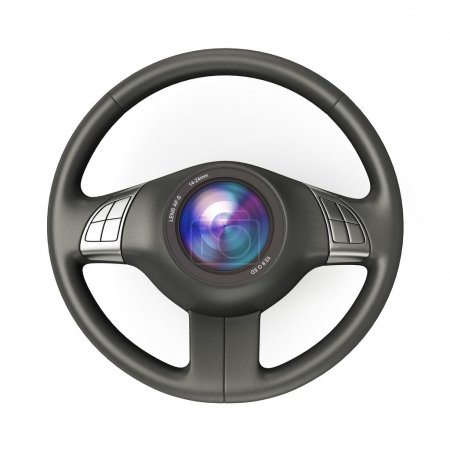 Steering wheel with camera lens