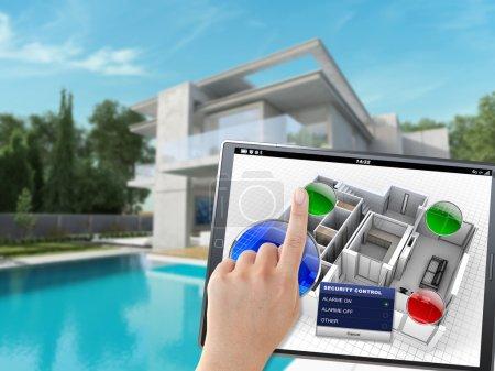 Photo pour Rendu 3D d'une villa contrôlée à distance par une personne avec un appareil mobile - image libre de droit