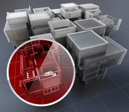 Photo pour Rendu 3D des concepts de surveillance du bâtiment - image libre de droit