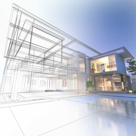 Photo for 3D rendering of a luxurious villa with contrasting realistic rendering and wireframe - Royalty Free Image