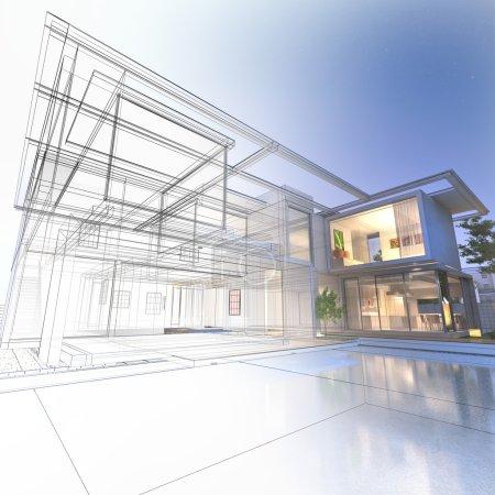 Photo pour Rendu 3D d'une villa de luxe avec rendu réaliste contrasté et wireframe - image libre de droit