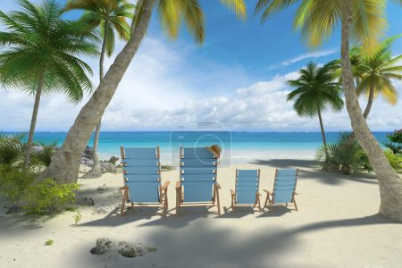 chairs in big and small size on the beach