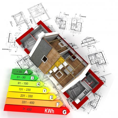 Foto de Representación 3D de una casa en construcción, en la parte superior de los planos, con una tabla de calificación de eficiencia energética - Imagen libre de derechos