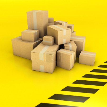boxes on a black and yellow background