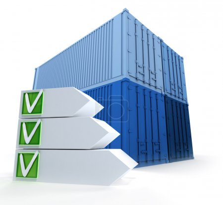 Cargo containers  and successful checklist