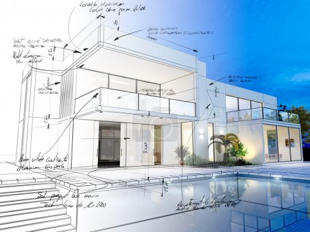 3D rendering of a luxurious villa with contrasting...