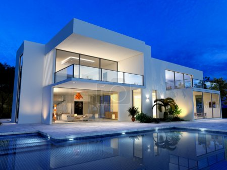 Photo for Luxurious villa with swimming pool at dusk - Royalty Free Image