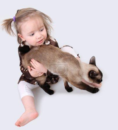 Photo pour Bébé fille assis sur un fond gris avec chat - image libre de droit