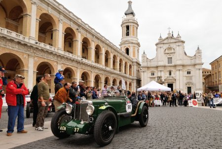 A green MG K 3 Magnette takes part to the 1000 Miglia classic car race