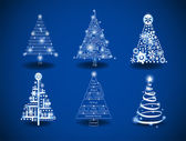 Six Christmas trees to create holiday cards backgrounds ornaments decoration