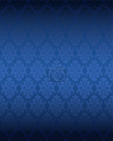 Illustration pour Fond fleuri sans couture de couleur bleue avec des fleurs de luxe - image libre de droit