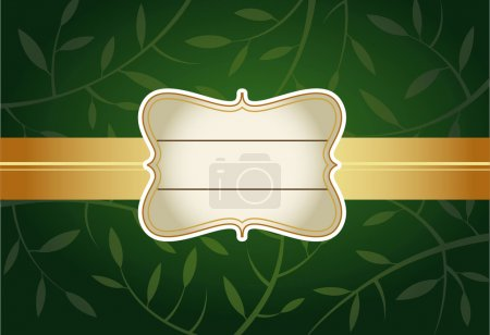 Illustration for Greeting card with label, green backgroung - Royalty Free Image