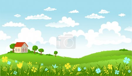 Illustration for Rural scene with green field, house and trees on sunny day - Royalty Free Image
