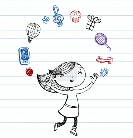 My favorite things - vector doodles on lined paper...