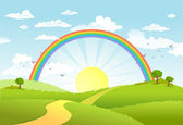 Rural scene with rainbow and bright sun house and trees on sunny day