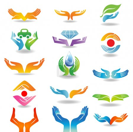 Illustration pour Eléments de conception avec les mains ouvertes qui tiennent et protègent - image libre de droit