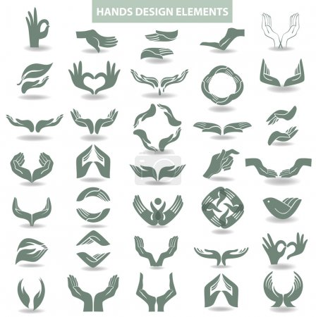Design elements with open hands which hold and protect