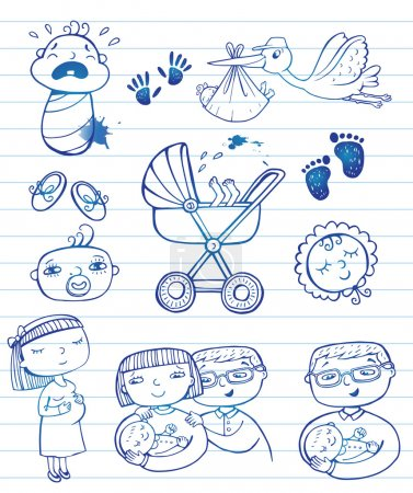 Photo pour Ensemble d'icônes de gribouillis dessinées à la main heureux parents, cigogne et accessoires pour nouveau-nés . - image libre de droit