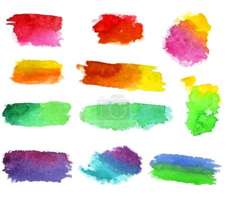 Illustration pour Abstrait vecteur aquarelle aquarelle main dessinée formes colorées art peinture éclaboussure tache sur fond blanc - image libre de droit