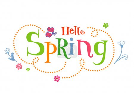 Illustration for Hello Spring. Funky vector Background - Royalty Free Image
