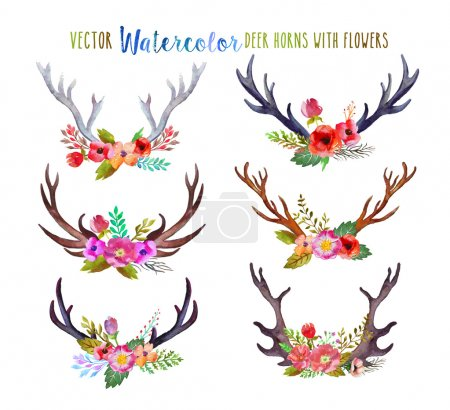 Illustration for Vector watercolor deer horns with flowers. - Royalty Free Image