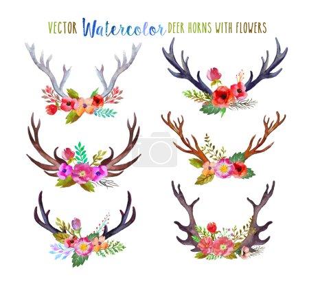 Illustration pour Vecteur cornes de cerf aquarelle avec fleurs . - image libre de droit